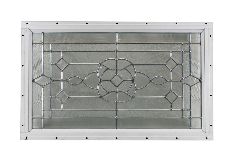 "24"" x 14"" Decorative Cut Glass Flush Mount Shed Window"