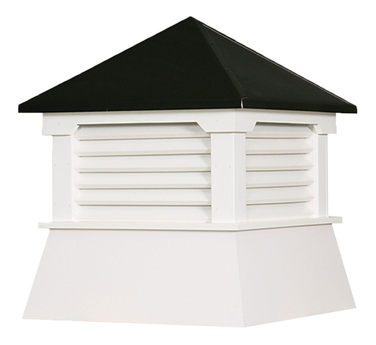 "16"" Vinyl Vented Cupola with Hip Roof with Black Metal Cap"