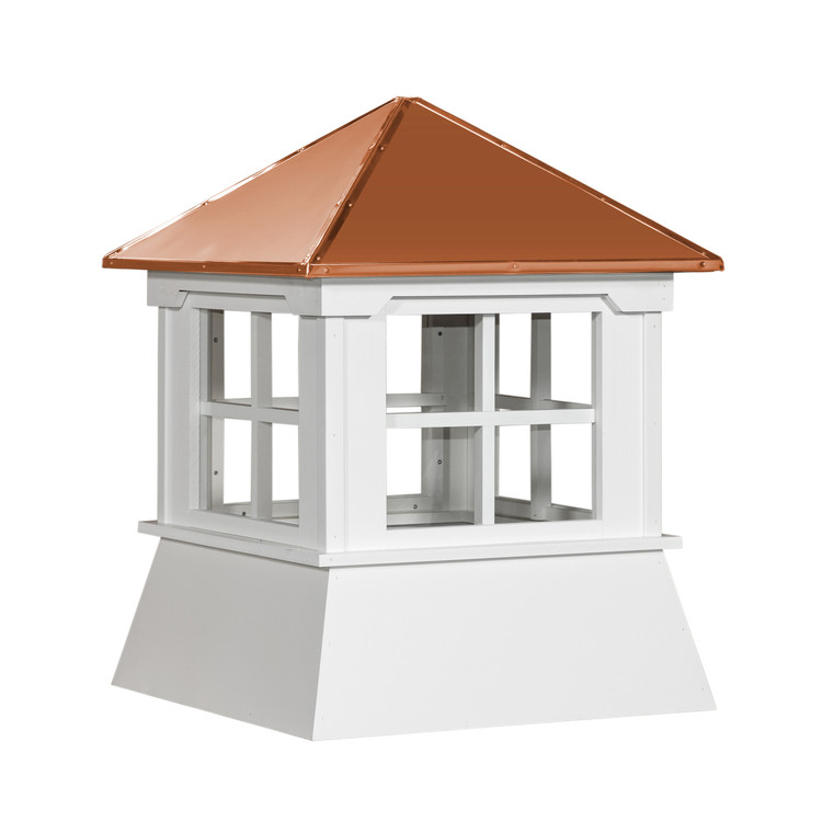 "16"" Vinyl Window Cupola with Hip Roof with Copper Cap"