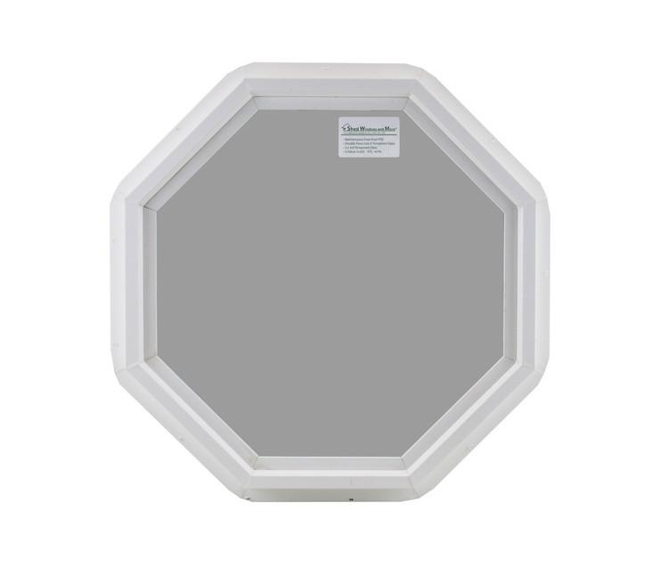 "Double Pane 24"" Octagon Tempered Low E Vinyl Window"