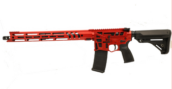"Barrage - AR-15 Rifle Skeletonized (5.56 Nato) w/ 17"" Ravage Handguard (Red) California Compliant"