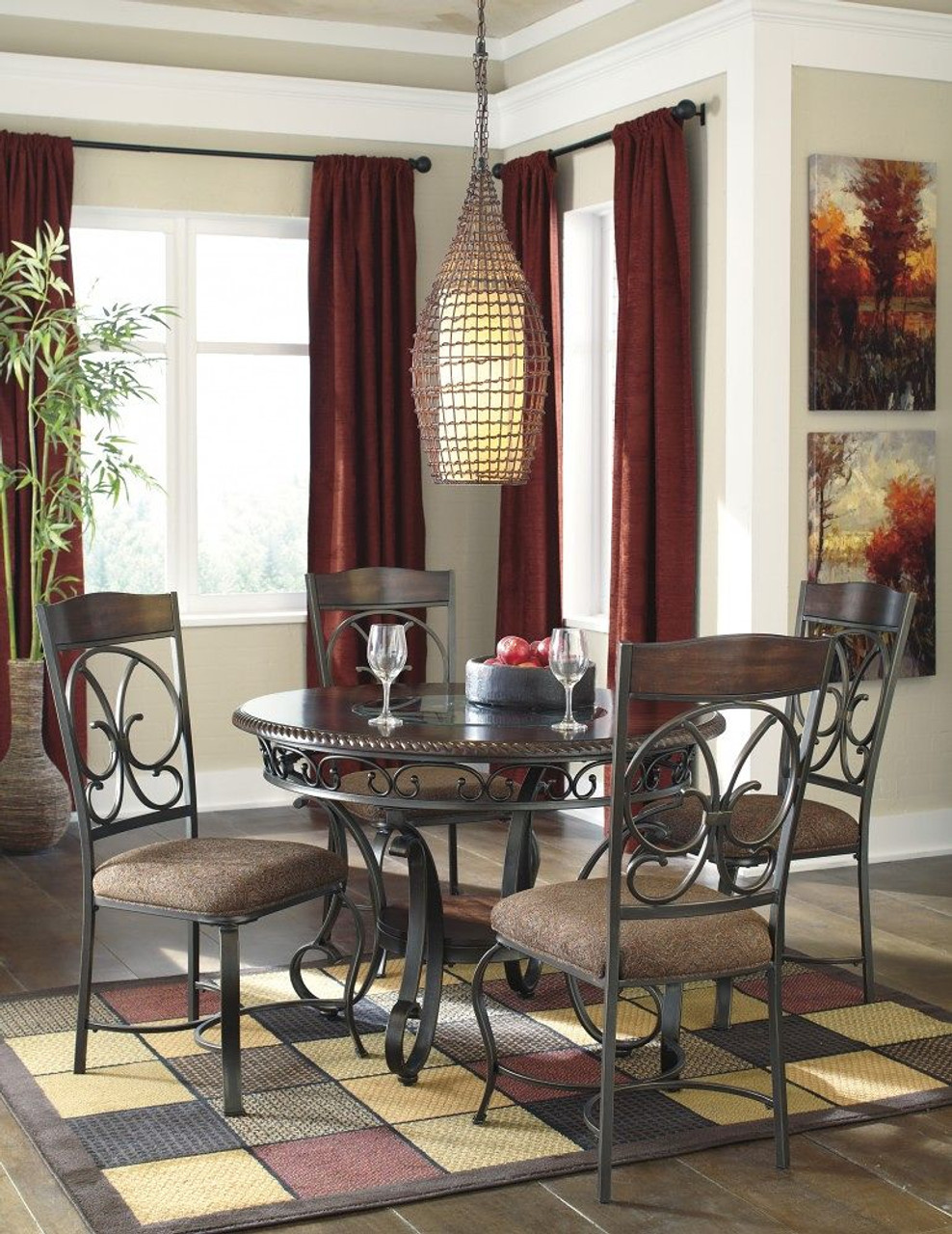 Glambrey 5 Pc. Round Dining Room Table & 4 Upholstered Side Chairs