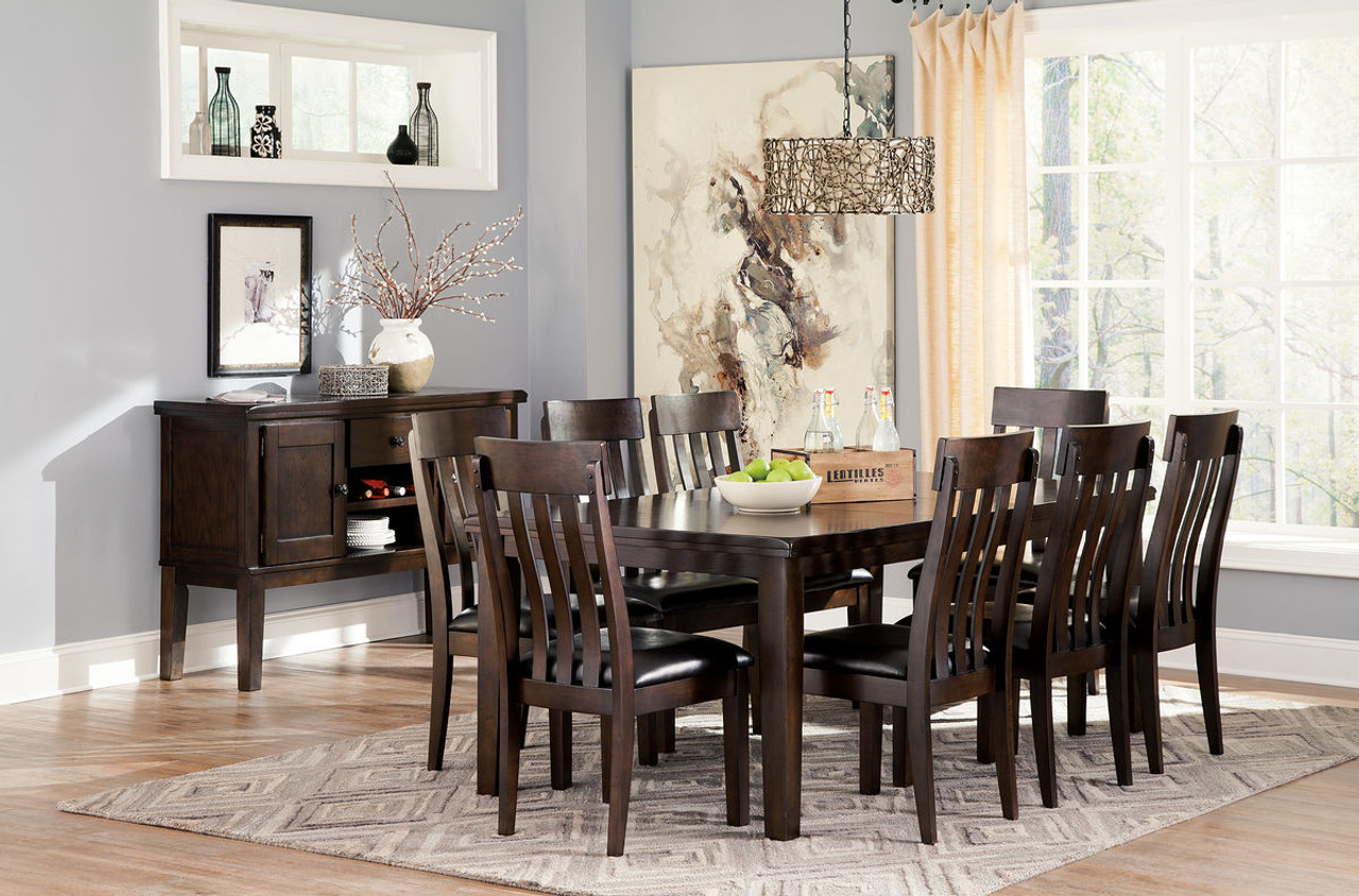 Haddigan Dark Brown 10 Pc. Rectangular Dining Room Extension Table, 8  Upholstered Side Chairs & Server
