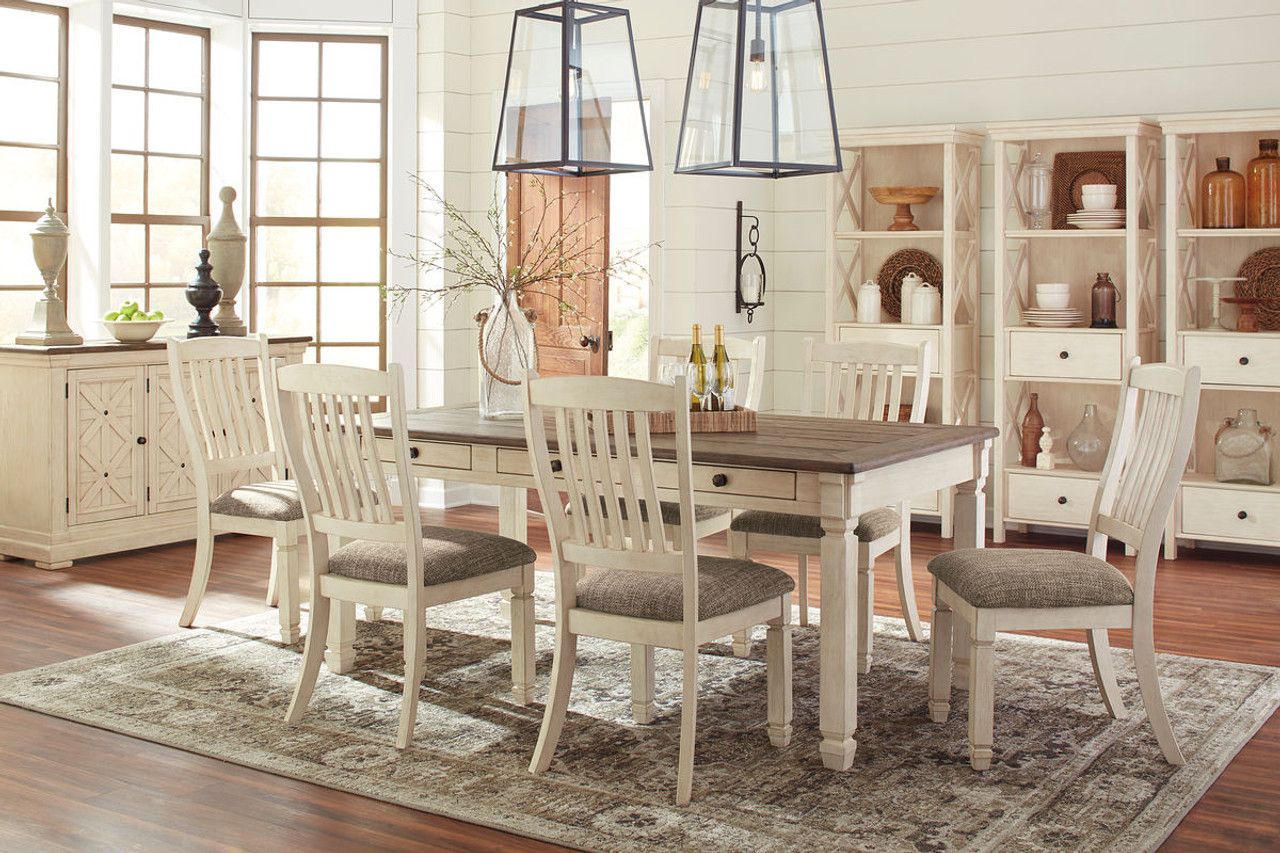 Bolanburg Antique White 11 Pc. Rectangular Dining Room Table, 6 Upholstered  Side Chairs, Dining Room Server & 3 Display Cabinets