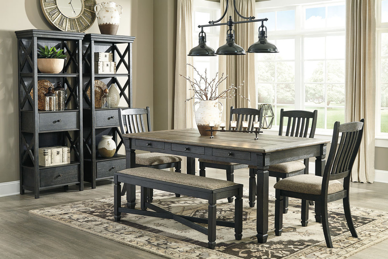 Picture of: The Tyler Creek Black Gray 8 Pc Rectangular Dining Room Table 4 Uph Side Chairs Uph Bench 2 Display Cabinets Available At Barnett And Swann In Athens Al