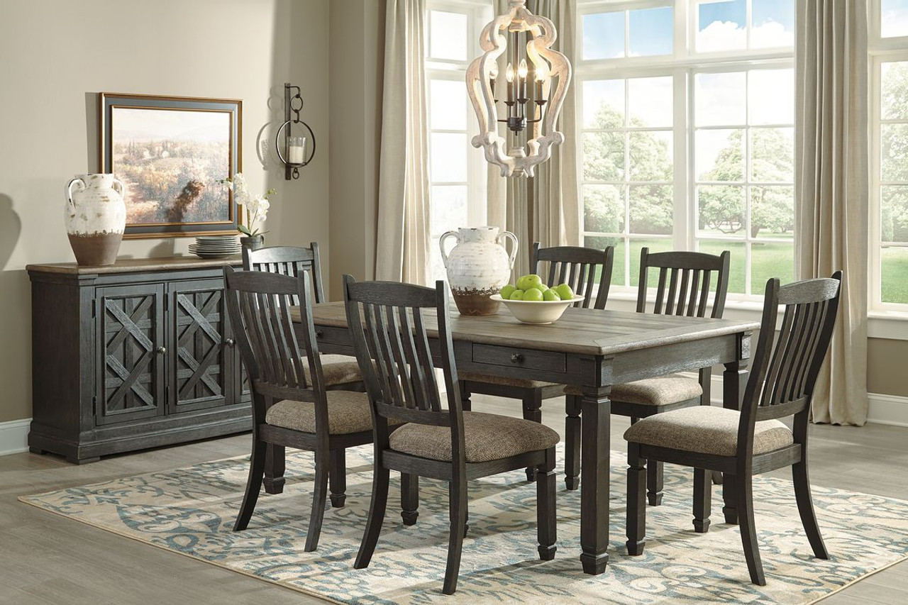 Picture of: The Tyler Creek Black Gray 8 Pc Rectangular Dining Room Table 6 Uph Side Chairs Server Available At Barnett And Swann In Athens Al