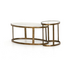 Marble and Brass Finish Nesting Coffee Table