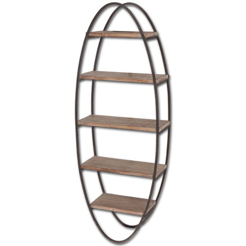 Metal Framed Oval Wall Shelf