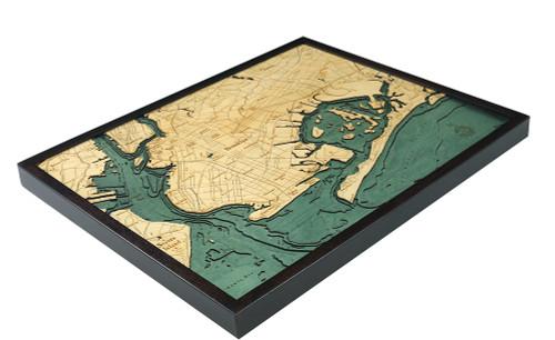 Brooklyn Wood Nautical Chart