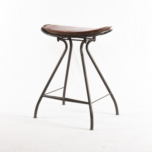 Saddle Metal and Leather Stool