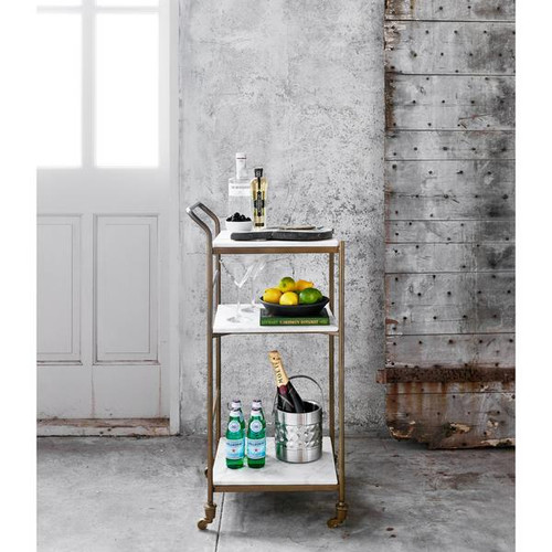 Brass and Marble Bar Cart