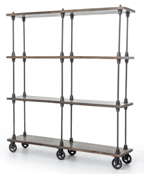 Iron and Wood Rolling Bookcase