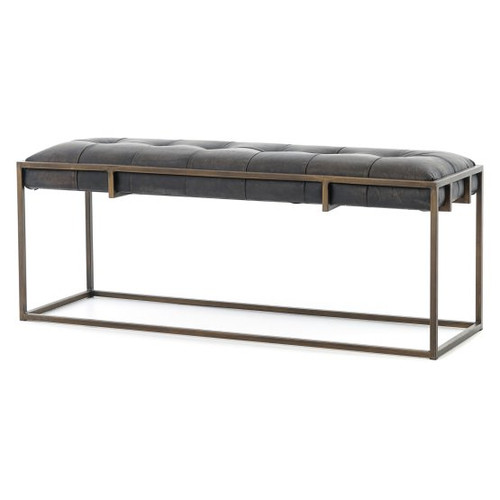 Tufted Leather Dining Bench