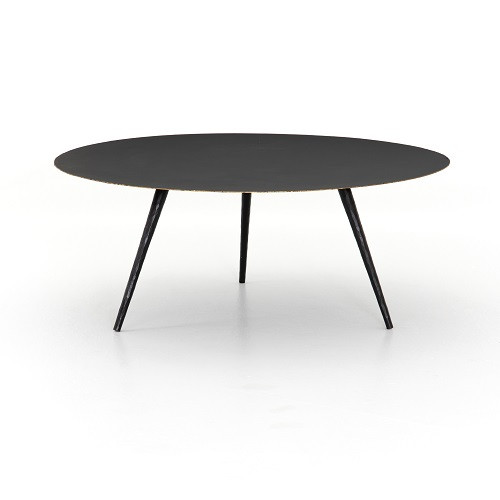 Black metal round coffee table