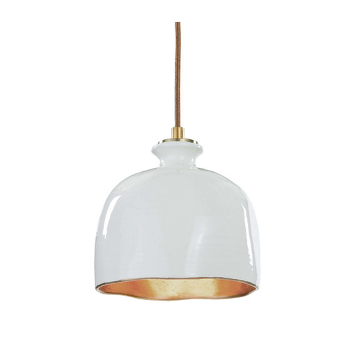 Organic white ceramic and gold pendant light