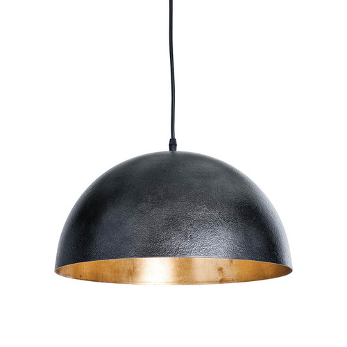Small black dome pendant with gold leaf interior