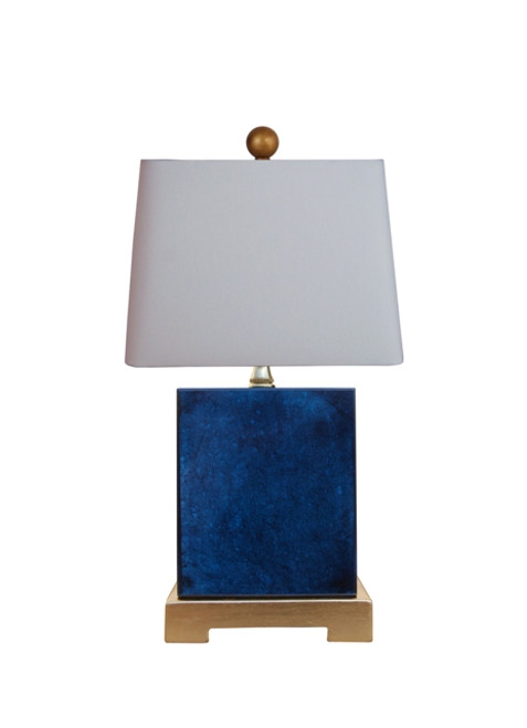 Blue Jade Table Lamp with Gold Leaf