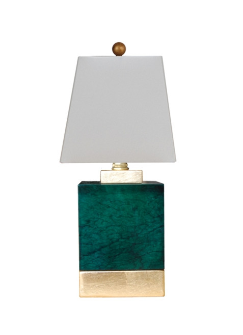 Green Jade Square Table Lamp with Gold Leaf