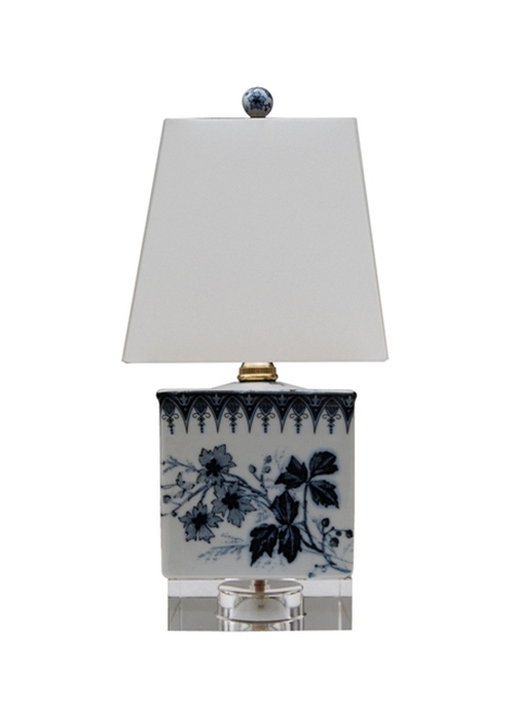 Blue & White Porcelain Square Lamp w/ Crystal Base