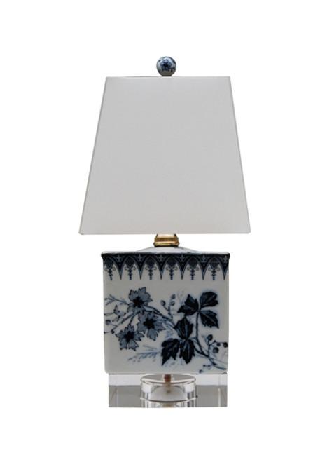 Blue & White Porcelain Square Lamp w/ Crystal Base