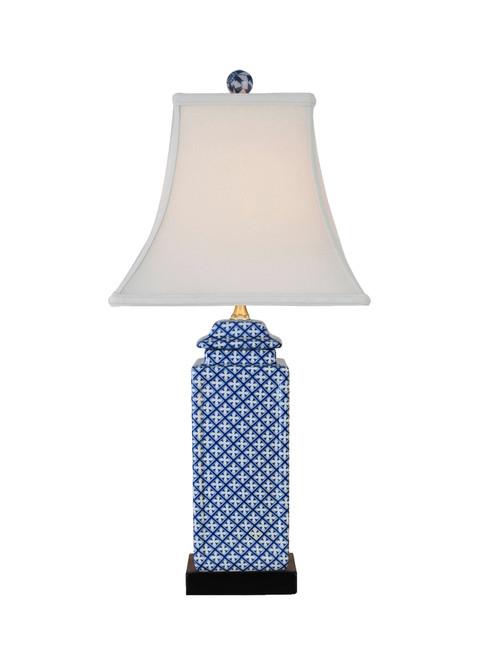 Blue & White Lattice Porcelain Table Lamp
