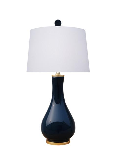 Solid Navy Blue Porcelain Lamp