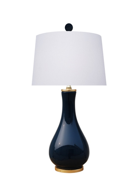 Solid Navy Blue Porcelain Lamp