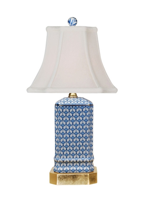 Small Blue & White Porcelain Lamp with Gold Leaf