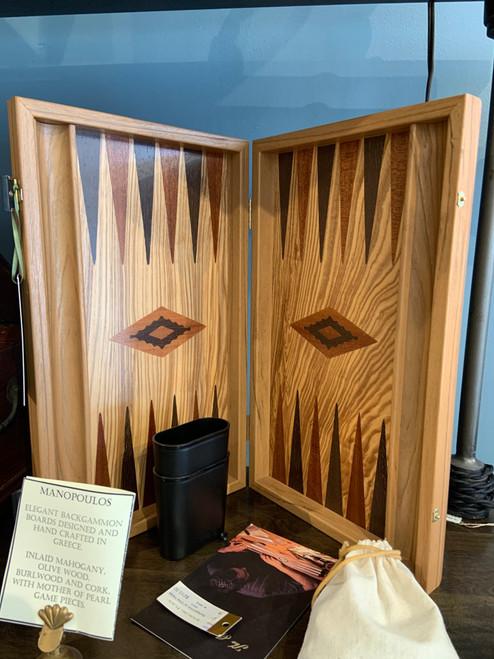 Hand-crafted Olivewood Backgammon Set