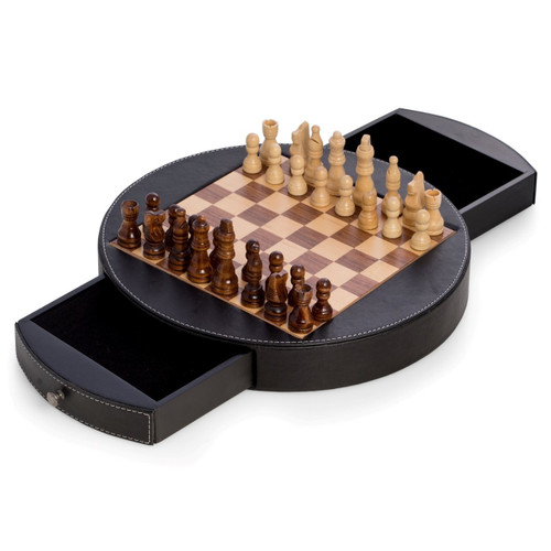 Leather-Wrapped Round Chess Set with Wooden Pieces