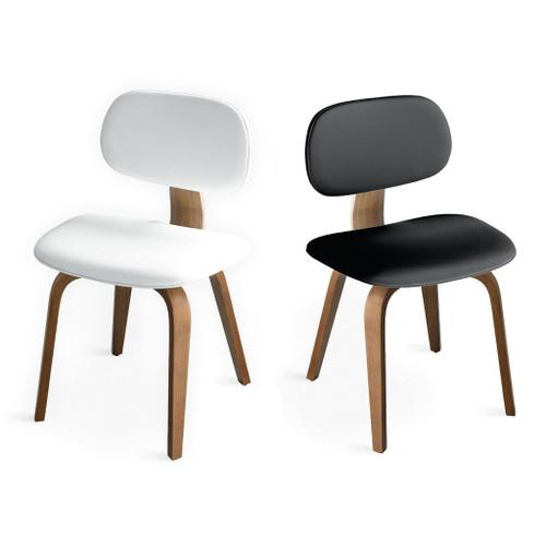 Walnut frame; white and black vinyl upholstery