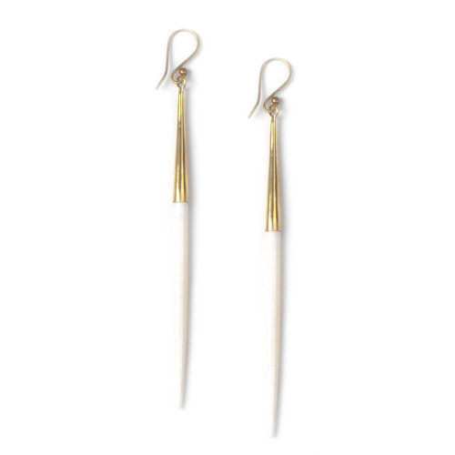 Capped White Quill Earrings