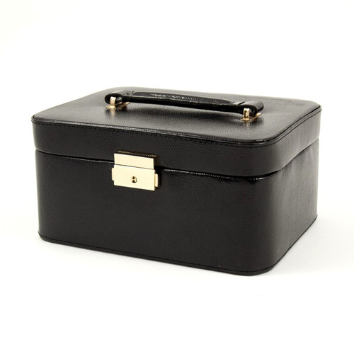 Black Leather Travel Jewelry Box