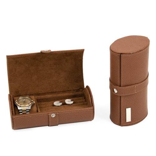 Tan Leather Traveling Jewelry Case