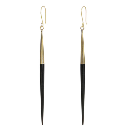 Capped Black Quill Earrings