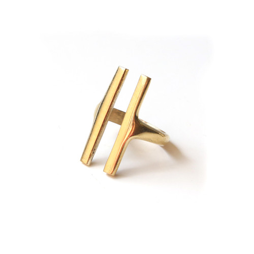 Adjustable Double Bar Brass Ring