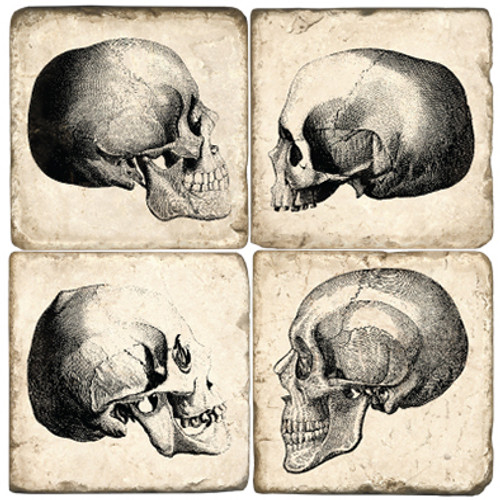 Set of Four Skull Marble Coasters