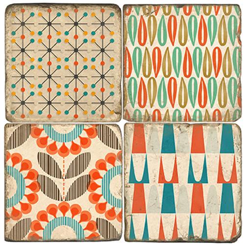 Set of Four Marble Mid Century Design Coasters