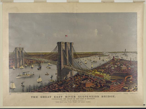 Great East River Suspension Bridge Framed Print