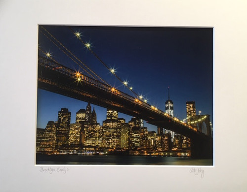 Matted Photo of Brooklyn Bridge