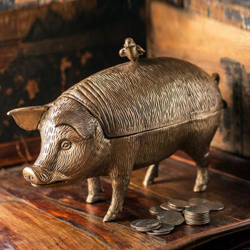 Brass Pig Storage Box