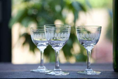 Etched Ovals Liquer Glass