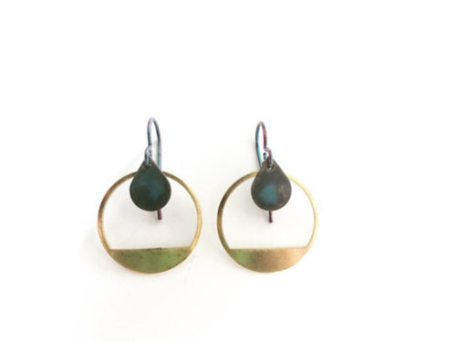 Sky Brass Circle Earrings