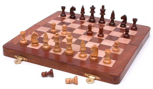 "Folding Wooden Chess Set 10"" x 10"""