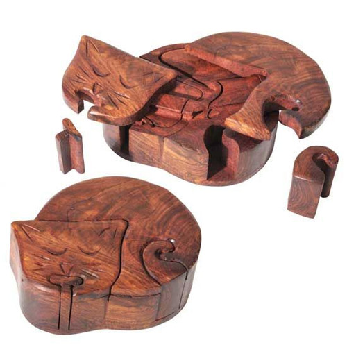 Carved Wooden Cat Puzzle Box