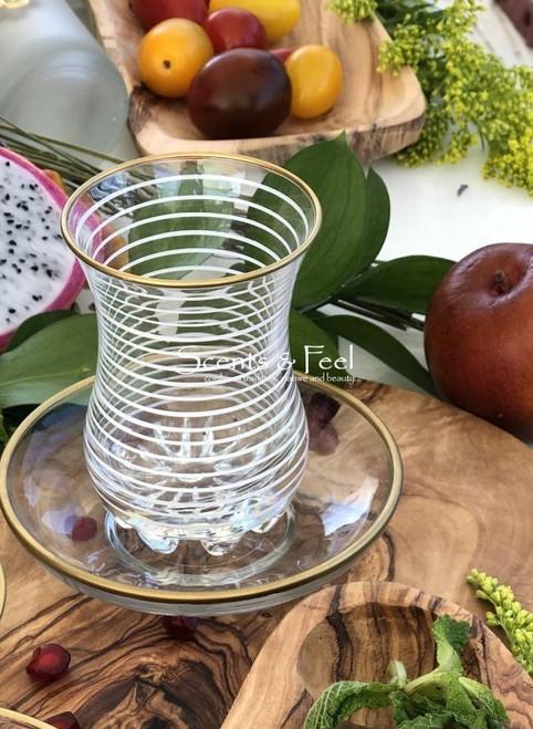 Morocan Tea Glass with Saucer