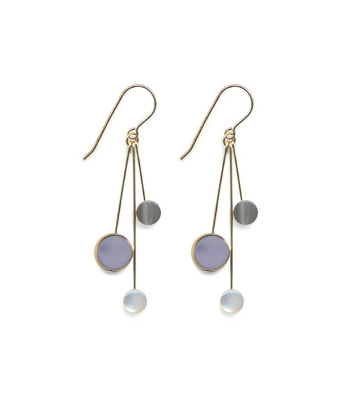 Lavender and Gray Bead Earrings