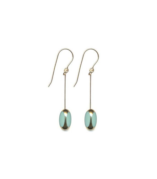 Aqua Bean Drop Earring