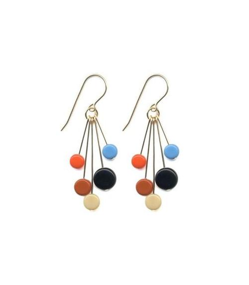 Orange, Blue, and Black Bead Earring