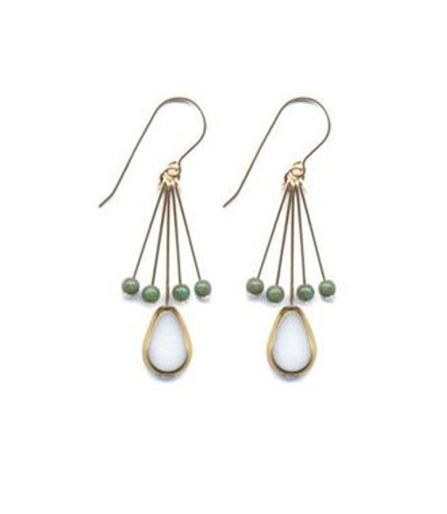 Cream Oval with Green Fringe Earring